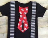 Iron On Tie with Suspenders and Pirate Tie Applique DIY First Birthday