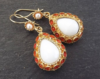 Dangly Teardrop Gemstone Ethnic Turkish Earrings - White and Orange Jade - Gold Plated Brass
