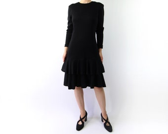 VINTAGE 1980s Tiered Party Dress Black Longsleeve