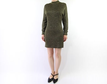 VINTAGE Metallic Mini Dress 1990s Longsleeve