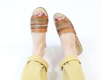 VINTAGE Sandals Leather Slingback Flats Size 8