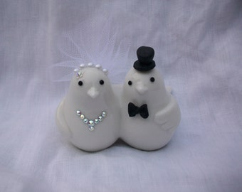 Bird bride and groom wedding cake topper