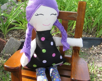 Rag Doll, Cloth Doll in Purples and Black READY TO SHIP