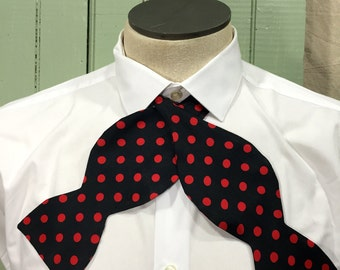 Vintage Polka dot Bow tie, Red Polka dot Bow tie,Preppy Bow Tie, Silk Bow Tie,Fathers Day Gift
