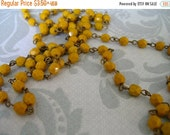 sale Handmade Linked Beaded Chain with Goldenrod 6mm Faceted Czech Glass Beads