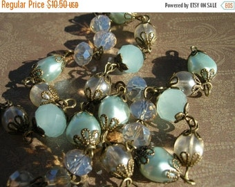 sale New French Style Finery Soft Pale Blue and Pearl Light Glass and Crystal Beads with Bronze