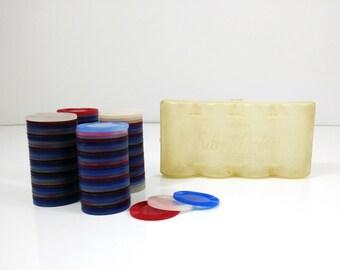 Vintage Tupperware Poker Chips with case, Tupper Brand Silent Partner chips