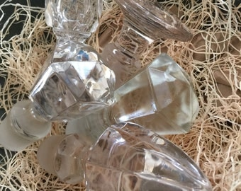 Set of Five Vintage Glass Decanter Bottle Stoppers 1950s 60s