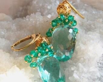 Green Quartz Gemstone Cluster Gold Vermeil Earrings Green Goddess Earrings