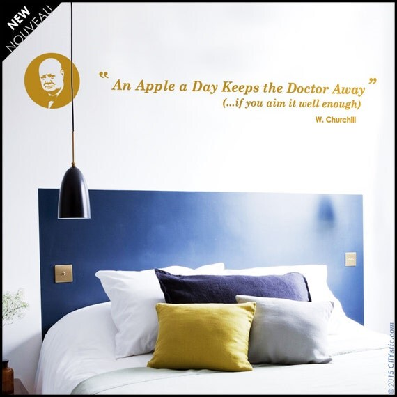 "Churchill quotation wall decal - Churchill quote ""An apple a day keeps the doctor away if you aim it well enough"". Phrase decal, sticker"