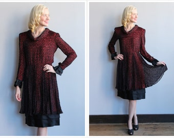 1960s Dress // Silk Chiffon Velvet Polka Dot Dress // vintage 60s dress