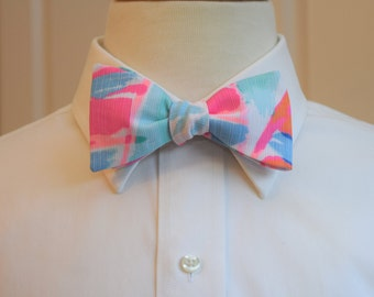 Men's Bow Tie, Out to Sea pastels Lilly print, aqua pink bow tie, sailboat bow tie, pastel wedding bow tie, groom bow tie, groomsmen gift,