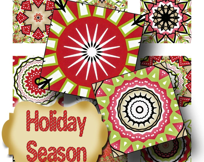 HOLIDAY SEASON•1x1 Square Images•Printable Digital Images•Cards•Gift Tags•Sticker• Magnets•Digital Collage Sheet