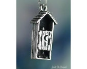 Sterling Silver Outhouse Charm Outdoor Toilet Bathroom 3D Solid .925