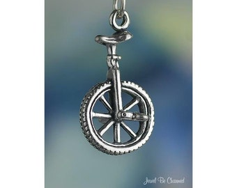 Unicycle Charm Sterling Silver Tricks Clown One Wheel 3D Solid .925