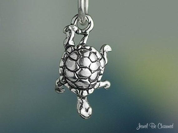 Turtle Charm Miniature Sterling Silver Box Turtles or Slider Tiny .925