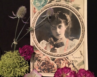 Belle Epoque French Postcard - Robinne  - Reutlinger - Pink Roses   - Book - Beautiful Woman