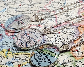CUSTOM Vintage Map Necklace. You Select Location. Anywhere In The World. One Necklace. Map Pendant. Map Jewelry. Personalized. Personalised.