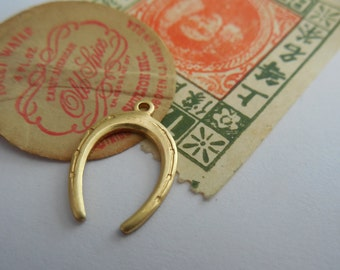 Brass Horseshoe Charm Solid Stamping Good Luck Horse Relic Charm