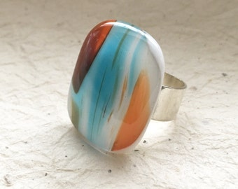 Women's Large Adjustable Ring, Womens Glass Ring