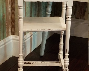 RESERVED /Vintage Distressed Side Table/Chippy White Painted Side Table/Shabby Cottage Table/Farmhouse Chic Side Table