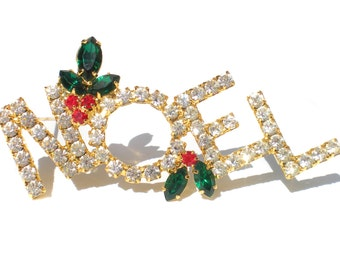 Rhinestone NOEL Christmas Brooch with Red & Green Mistletoe Pave Set on Silver Tone - Vintage Holiday Jewelry
