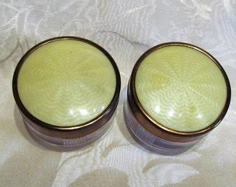 Vintage Vanity Jars 1940's Set 2 Powder Jar Guilloche Celluloid & Glass Art Deco Storage Jars Trinket Boxes