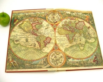 World atlas large reference book illustrated w/earth & sky maps, red, cream, gold hardback, vintage 1960s for car, coffee table, art supply