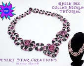 Queen Bee Honeycomb Necklace Tutorial, Two Hole Hex bead, MiniDuo Collar Necklace Pattern, PDF Instructions, Laura Graham