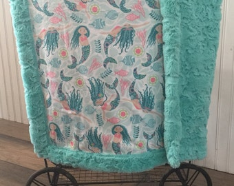 Baby Blanket, Ships Today -Minky baby blanket, Mermaid minky baby blanket, Minky blanket 30 x 39, baby shower gift