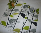 4 Lime Green Grey Napkins Funky Floral Retro Fabric washable ANY of MY DESIGNS