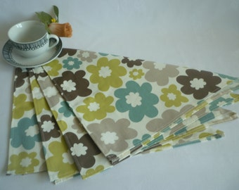 4 Taupe Green Napkins Funky Retro Blue Floral Fabric washable ANY of MY DESIGNS