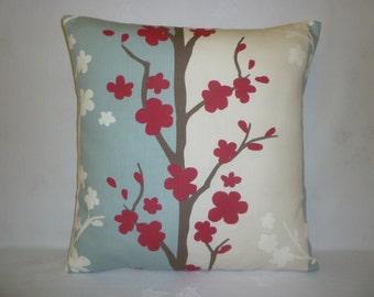 "BIG 22"" Pillow Cover Euro Sham Raspberry Red Blue Taupe Retro Floral Designer Cotton Cushion Cover.Pillowcase Sham Slip"
