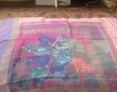 Vintage CHRISTIAN DIOR Scarf Silk Scarf Extra Large Pink Purple Blue Teal with Flowers and Birds