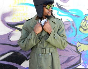 Vintage Military Trench Coat, AUTHENTIC 60s United States Military Issue Army Green Coat w Removable Liner, Men's Small Long, Vietnam Era