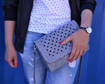 Grey felt bag, SmallDotsClutch, black felt, dots, clutch, crossbody bag, dotted, medium size