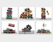Set of SIX Stacked Matchbox Car Prints, Nursery Decor, Rustic Decor , Boys Wall Art, Car Prints, Boys truck Room