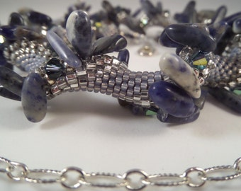 Treasured Blue & White Lapis Lazuli Beads, Swarovski Crystals Necklace