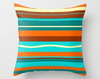 Outdoor Pillow, Modern Outdoor Pillow, Turquoise Outdoor Pillow, Striped Outdoor Pillow, Mid Century Modern Outdoor Pillow, Throw Pillow