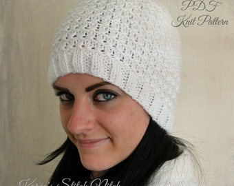 PDF Knit Pattern for White Ripple Hat Design