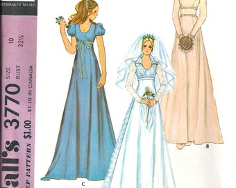 Wedding Bridal Gown Pattern,  Bridesmaid Dress  Sewing Pattern McCall's 3770 Size 10 1970's Vintage