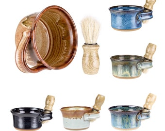 Wheel Thrown Pottery Shaving Mug / shaving cup / shave set / shave mug / shaving bowl / shaving scuttle / shaving set/ MADE TO ORDER-6 weeks