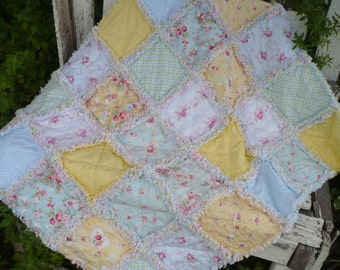Baby Girl Rag Crib Quilt -Summer Shabby Chic Cottage Roses in Yellow and Country Blue Ready to Ship