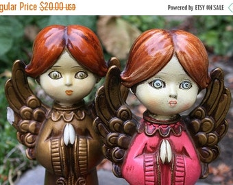 ON SALE Ever Sweet Vintage Made in Japan Praying Angels Paper Mache Fingurines