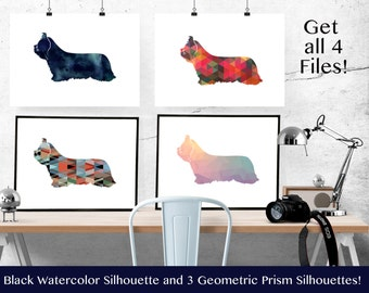 Skye Terrier Dog - Geometric Pattern Silhouette from Breed Collection - Digital Download Printable - Frameable 8x10