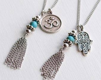 Tassel Necklace OM Symbol Spiritual Charms Long Chain Turquoise Beaded Karma Bohemian Jewellery Boho Aum Jewelry