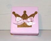 Small Pink Gift Box with Gold Glitter Crown, 4 x 4 x 2 inches