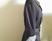 ON SALE Vintage, Christian Dior, Le Connaisseur, Charcoal Gray, Mens, Trench, Water Resistent, Double Breasted, Size 44 L, Unisex, Plus Size