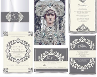 The Duchess .Elegant Wedding invitation suite . Invitation and RSVP sample. Printing services available