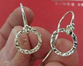 Silver Earrings - All Sterling Silver Dangle Earrings - Dainty Silver Hammered Ring Earrings